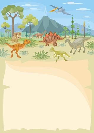 Vertikaler Vektorhintergrund mit dem Bild einer prähistorischen Landschaft und der Dinosaurier. Bunte Illustration im Cartoon-Stil. Standard-Bild - 97124172