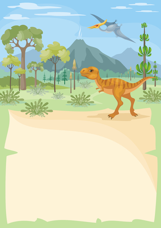 Vertical vector background with the image of a prehistoric landscape and dinosaurs. Colorful illustration in cartoon style.