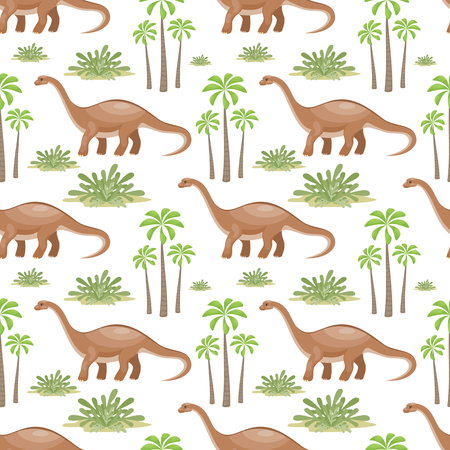 Pattern with trees and dinosaurs