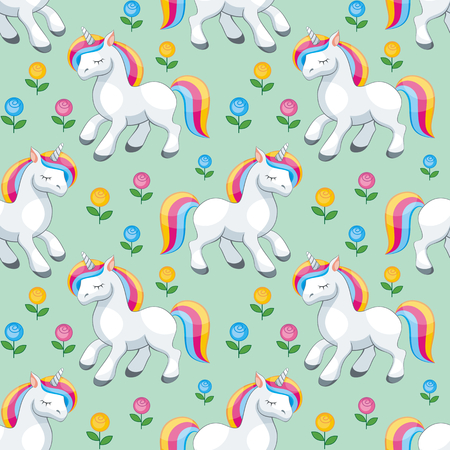 Fairy children seamless pattern with the image of cute unicorns. Colorful vector background in cartoon style. Illustration