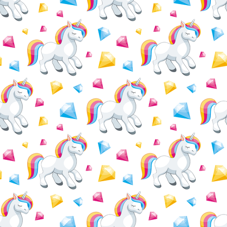 Fairy children seamless pattern with the image of cute unicorns. Colorful vector background in cartoon style. Çizim