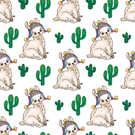 Seamless pattern with the image of cute llamas in doodle style, Colorful  background.