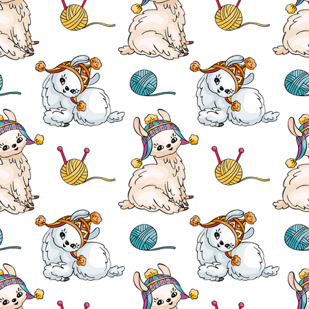 Seamless pattern with the image of cute llamas in doodle style. Colorful vector background