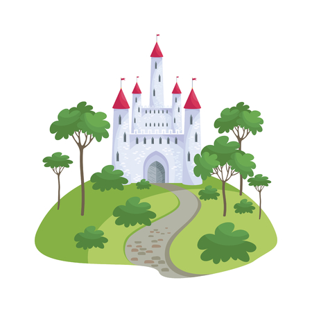 Colorful image of a beautiful fairy medieval castle in cartoon style. Illustration