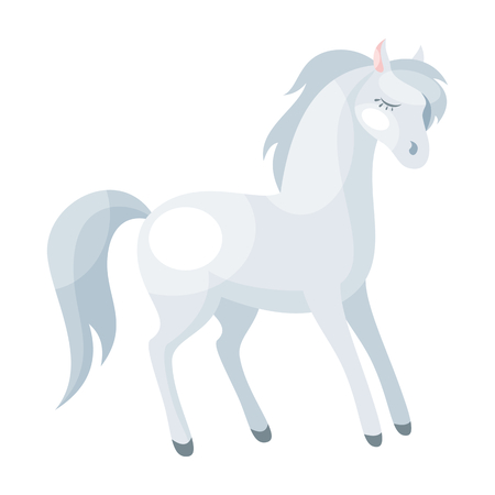 Image of a beautiful horse illustration in cartoon style isolated on a white background.