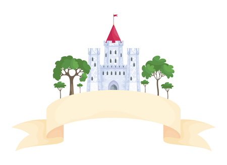 Colorful image of a beautiful fairy medieval castle. Vector illustration in cartoon style.