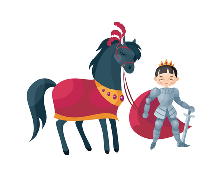 Colorful image of a fairytale Prince. Vector illustration in cartoon style. Çizim