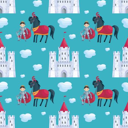 Buntes nahtloses Muster mit einem Bild eines Märchenschloss und des Prinzen . Vektor Hintergrund Standard-Bild - 98844570
