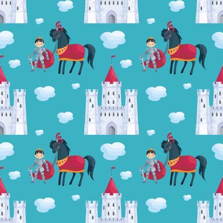 Colorful seamless pattern with a picture of a fairytale castle and Prince. Vector background. Иллюстрация