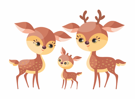Deer family. Cute animals with cub. Vector illustration in cartoon style isolated on a white background. Stock Illustratie