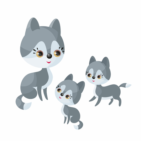 Wolf family. Cute animal with cubs. Vector illustration in cartoon style isolated on a white background.
