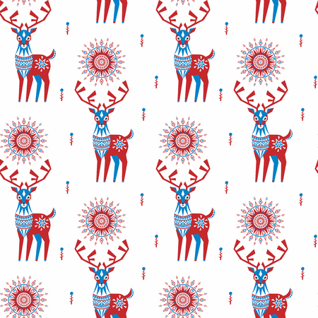 Decorative seamless pattern in folk style with reindeer image. Colorful vector background.