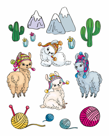 Little pretty llama in doodle style. Colorful vector illustration isolated on white background.