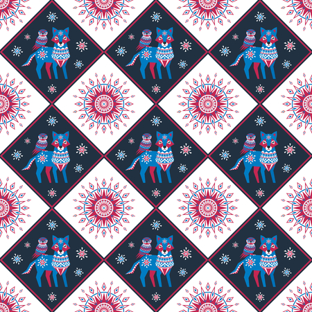 Decorative seamless pattern in folk style with wolf and owl. Colorful vector background.