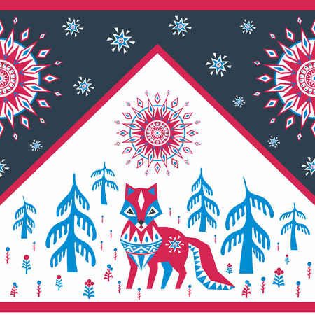 Decorative seamless pattern in folk style with red fox. Colorful vector background. Illustration