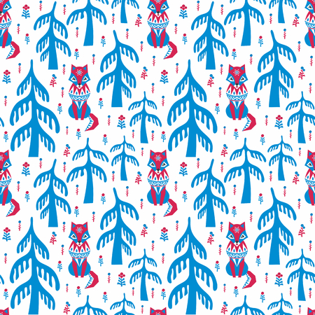 Decorative seamless pattern in folk style with red fox. Colorful vector background. Illusztráció