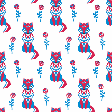 Decorative seamless pattern in folk style with red fox. Colorful vector background. 向量圖像
