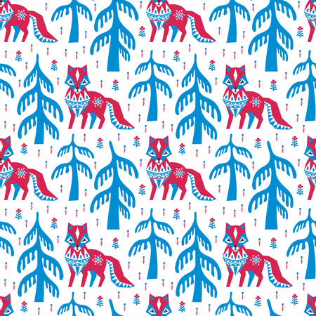 Decorative seamless pattern in folk style with red fox. Colorful vector background. Иллюстрация