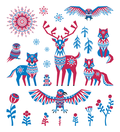 Arctic animals and plants. Colorful vector illustrations isolated on a white background.
