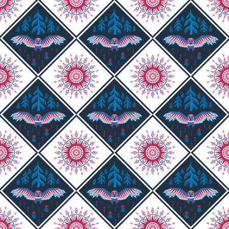 Decorative seamless pattern in ethnic style with owl. Colorful vector background