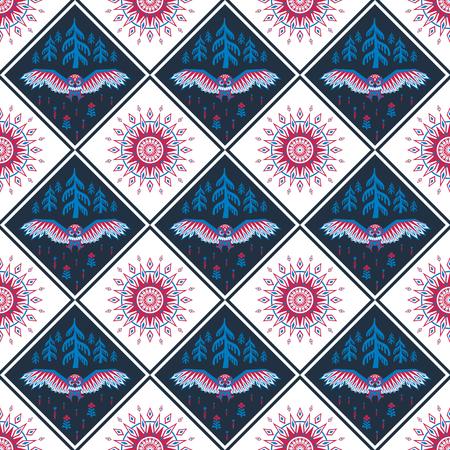 Decoratief naadloos patroon in etnische stijl met uil. Kleurrijke vector achtergrond Vector Illustratie