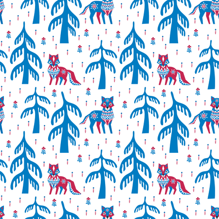 Decorative seamless pattern in ethnic style with fox and wolf. Colorful vector background