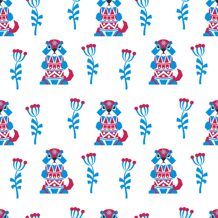 Decorative seamless pattern in ethnic style with gopher. Colorful vector background.