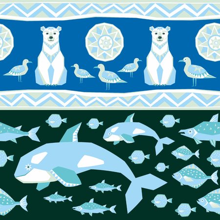 Seamless pattern in ethnic style with the image of northern sea animals. Colorful vector background. Illustration