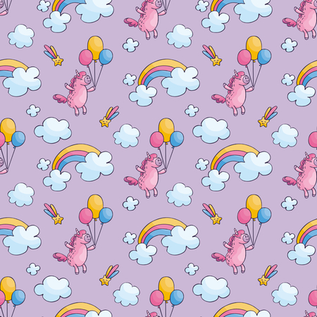 Childrens seamless pattern with cute unicorns in doodle style. Colorful vector background.