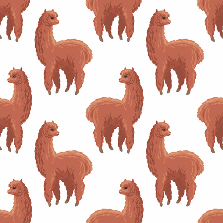 Seamless pattern with the image of cute alpaca in cartoon style. Colorful vector background 写真素材 - 101062189