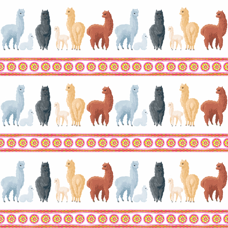 Seamless pattern with the image of cute alpaca in cartoon style. Colorful vector background Иллюстрация