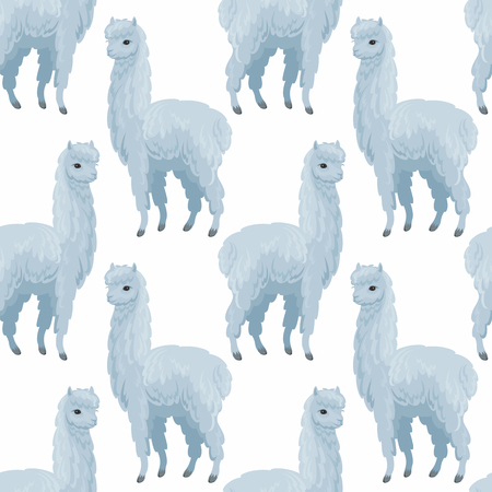 Seamless pattern with the image of cute alpaca in cartoon style. Colorful vector background 写真素材 - 101062193
