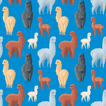 Seamless pattern with the image of cute alpaca in cartoon style. Colorful vector background  イラスト・ベクター素材