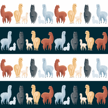 Seamless pattern with the image of cute alpaca in cartoon style. Colorful vector background Illustration