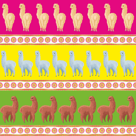 Seamless pattern with the image of cute alpaca in cartoon style. Colorful vector background 写真素材 - 101062198