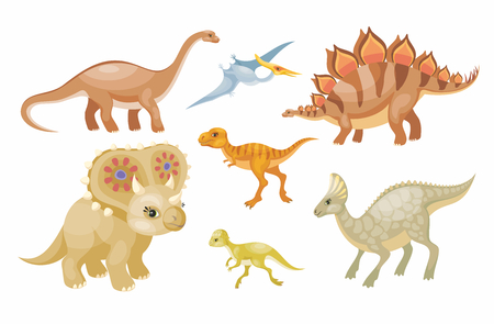 Dinosaurs vector set. Colorful illustrations isolated on a white background.