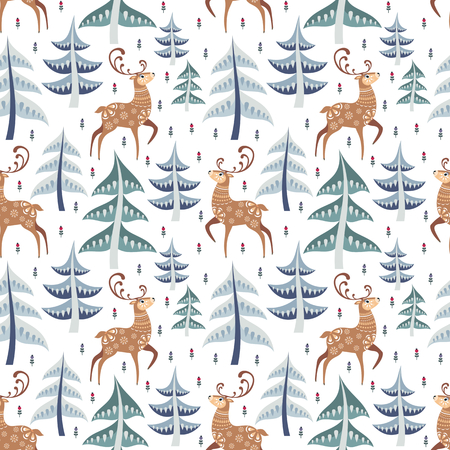 Decorative seamless pattern in folk style with deer. Colorful vector background Ilustrace