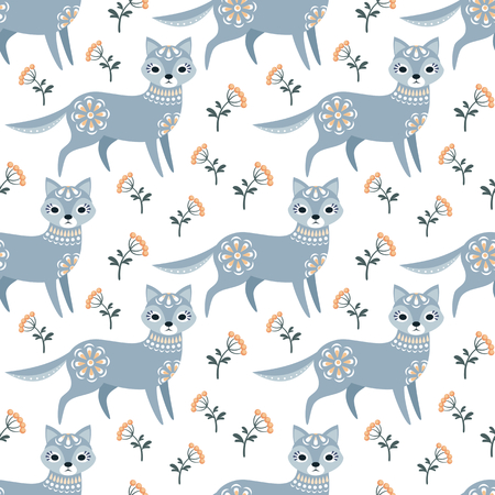 Decorative seamless pattern in folk style with wolf. Colorful vector background.