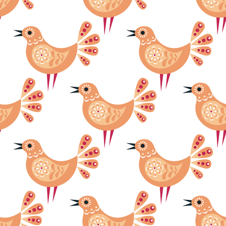 Decorative seamless pattern in folk style with bird. Colorful vector background.