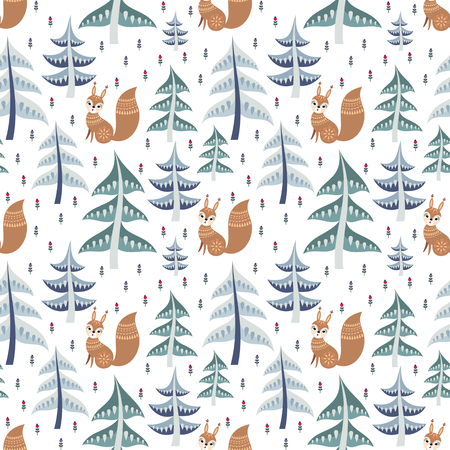 Decorative seamless pattern in folk style with squirrel. Colorful vector background.