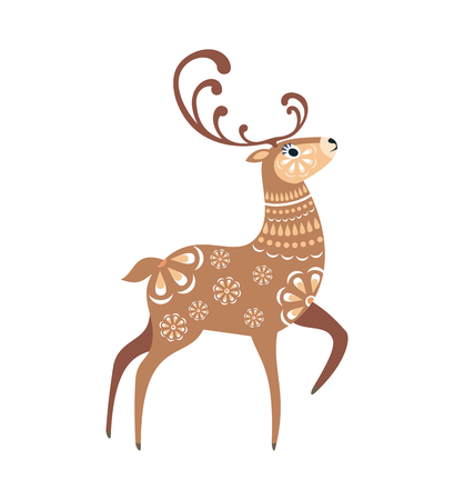 Cute deer in ethnic style. Colorful vector illustration isolated on white background.