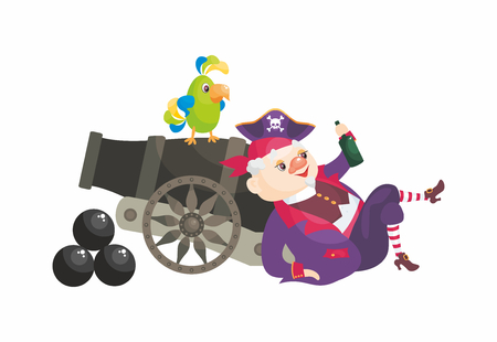 Vector image of a pirate in a cartoon style. Children's illustration isolated on white background.