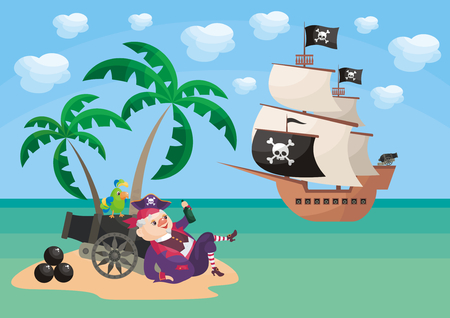 Vector background with image of a pirate and ship in a cartoon style. Childrens illustration.