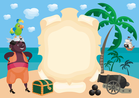 Vector background with image of a pirate and ship in a cartoon style. Children's illustration. Banque d'images - 102745661