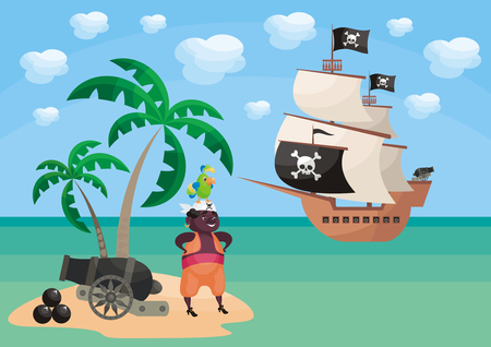 Vector background with image of a pirate and ship in a cartoon style. Children's illustration.