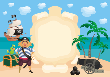 Vector background with image of a pirate and ship in a cartoon style. Children's illustration. Banque d'images - 102745663