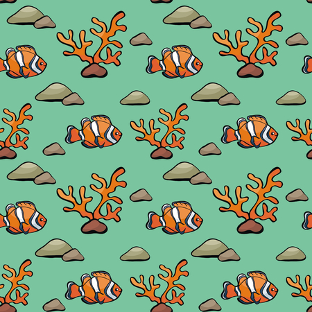 Seamless pattern in doodle style with the image of a cute fish. Colorful vector background.