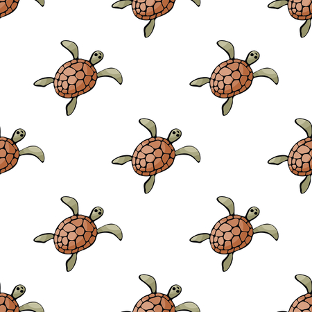 Seamless pattern in a doodle style with the image of a sea turtle isolated on a white background. Vector illustration. Stock Illustratie