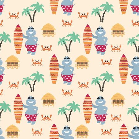 Children's seamless pattern with fun hippos on vacation. Vector background in cartoon style.