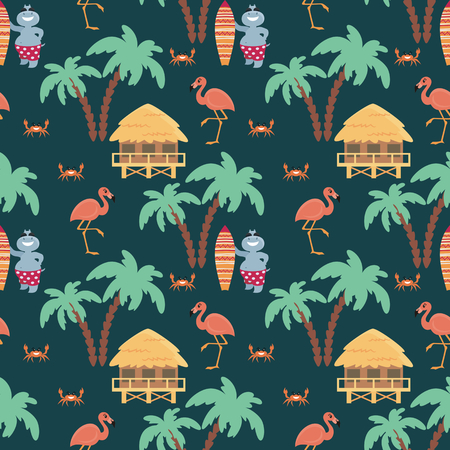 Children's seamless pattern with fun hippos on vacation and flamingo. Vector background in cartoon style. 일러스트
